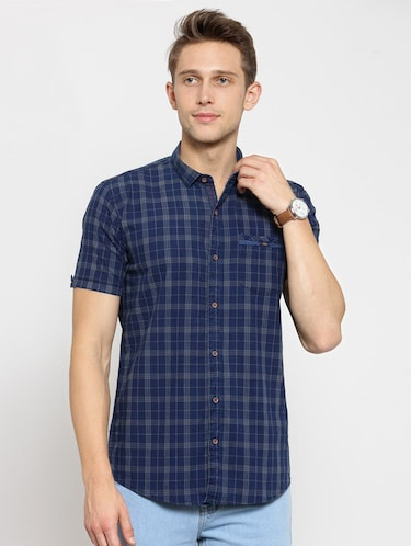9b17038953 Buy Blue Cotton Casual Shirt for Men from Kivon for ₹939 at 1% off ...
