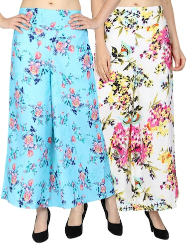 set of 2 floral flared palazzo - 15492090 - Standard Image - 1