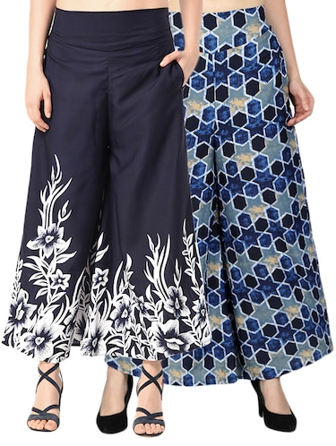 set of 2 printed flared palazzo - 15492100 - Standard Image - 1