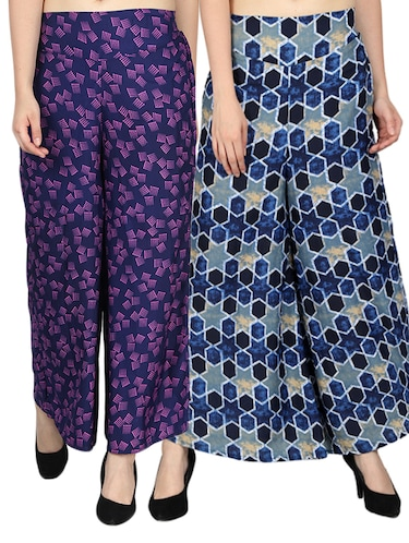 set of 2 printed flared palazzo - 15492101 - Standard Image - 1