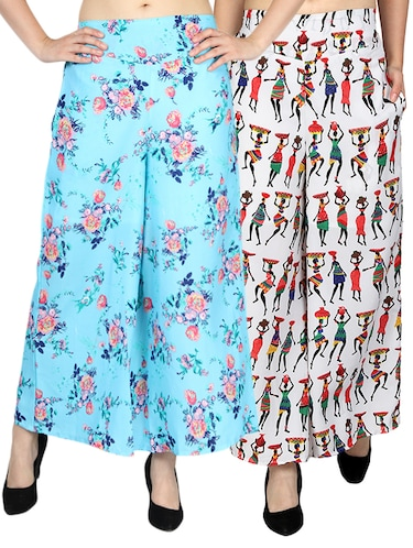 set of 2 printed flared palazzo - 15492103 - Standard Image - 1