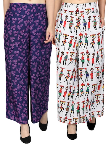 set of 2 printed flared palazzo - 15492113 - Standard Image - 1