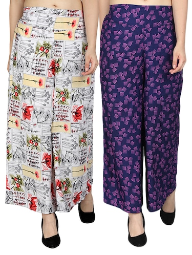 set of 2 printed flared palazzo - 15492122 - Standard Image - 1