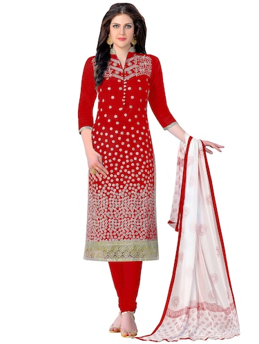 Embroidered unstitched churidaar suit - 15493156 - Standard Image - 1