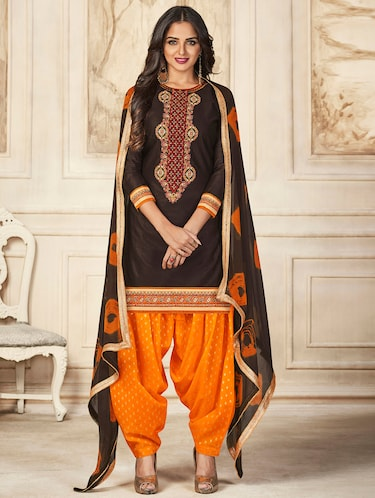 Embroidered unstitched salwar suit - 15493162 - Standard Image - 1