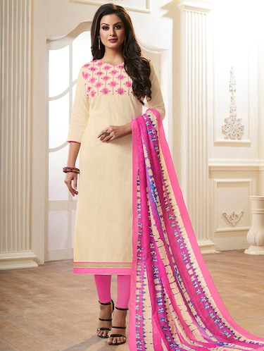 Embroidered unstitched churidaar suit - 15493174 - Standard Image - 1