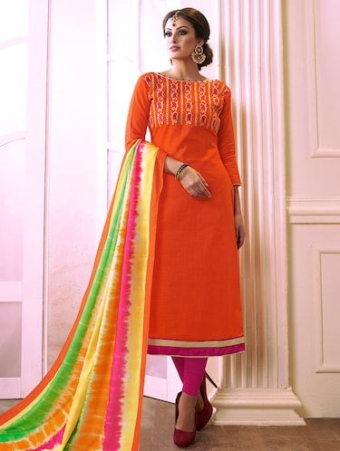 Embroidered unstitched churidaar suit - 15493223 - Standard Image - 1