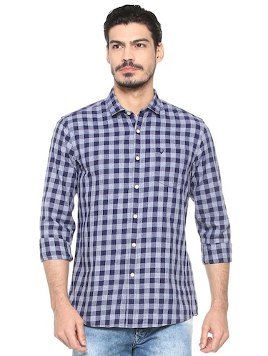 blue cotton casual shirt - 15493491 - Standard Image - 1