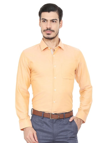 orange cotton blend formal shirt - 15493499 - Standard Image - 1