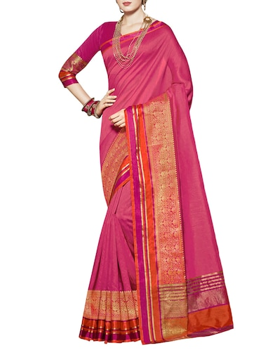 Zari bordered saree with blouse - 15493589 - Standard Image - 1