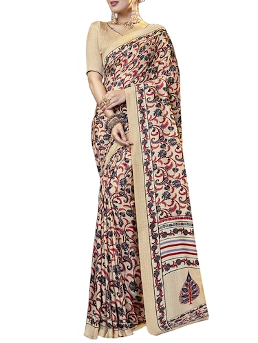 paisley printed saree with blouse - 15493599 - Standard Image - 1