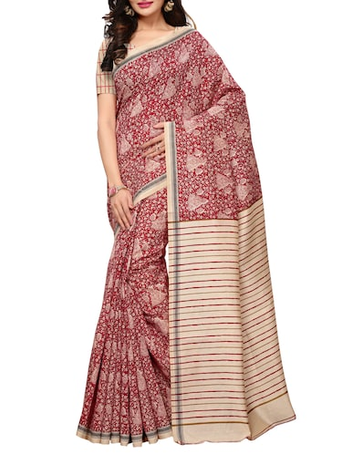 conversational printed saree with blouse - 15494202 - Standard Image - 1