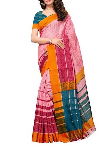 Stripes bordered printed saree with blouse - 15494205 - Standard Image - 1