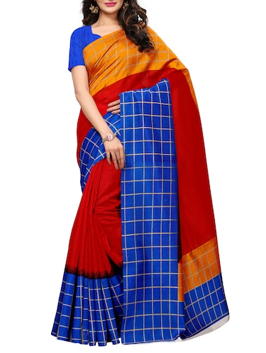checkered bordered printed saree with blouse - 15494212 - Standard Image - 1