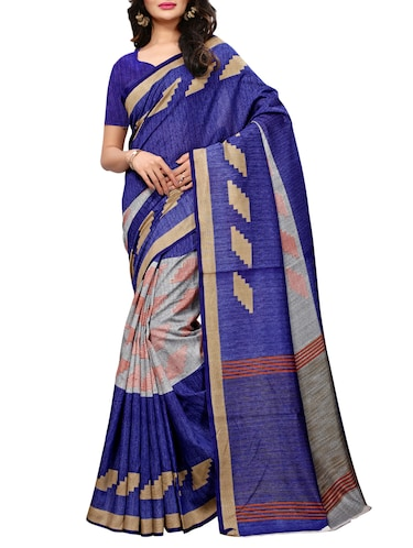 Geometrical printed saree with blouse - 15494214 - Standard Image - 1