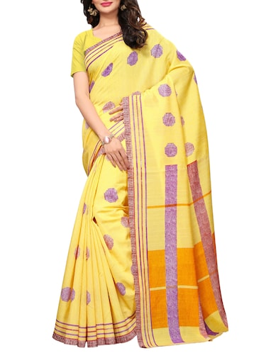 Polka dots printed  saree with blouse - 15494231 - Standard Image - 1