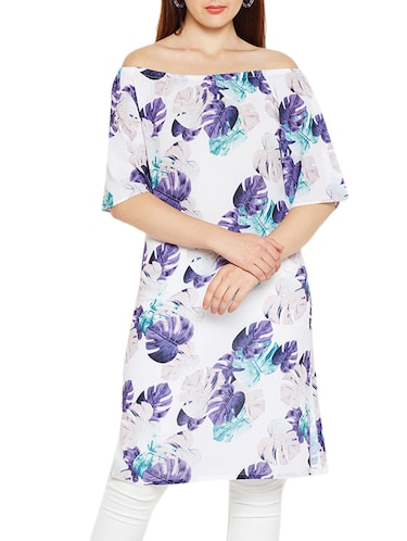 Off shoulder printed kurta - 15494255 - Standard Image - 1