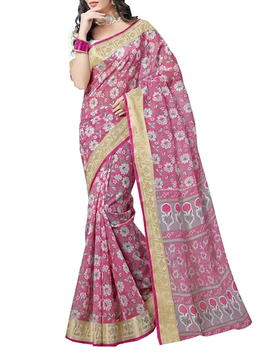 Zari bordered floral printed saree with blouse - 15494562 - Standard Image - 1