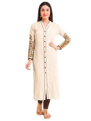 Embroidered piping straight kurta - 15494745 - Standard Image - 1