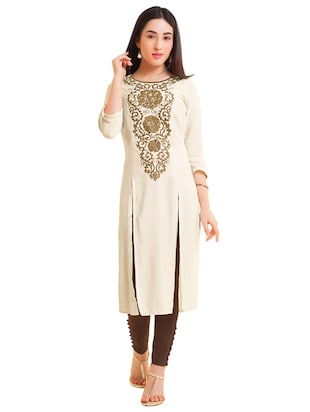 Embroidered double slit straight kurta - 15494770 - Standard Image - 1