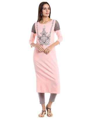 Straight embroidered kurta - 15494799 - Standard Image - 1