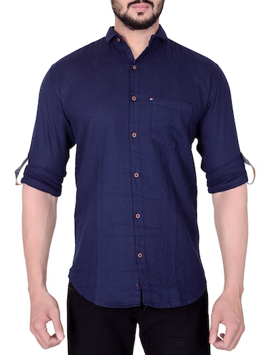 blue cotton casual shirt - 15495112 - Standard Image - 1