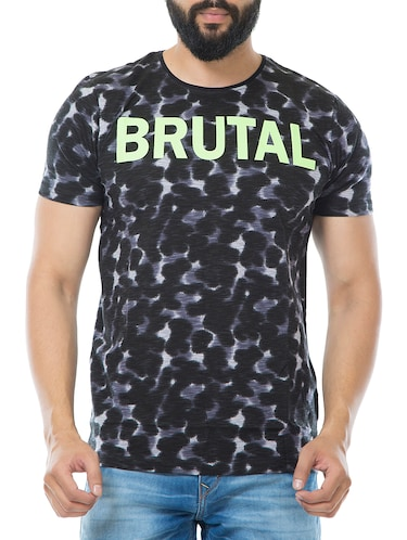 black cotton all over print t-shirt - 15495640 - Standard Image - 1