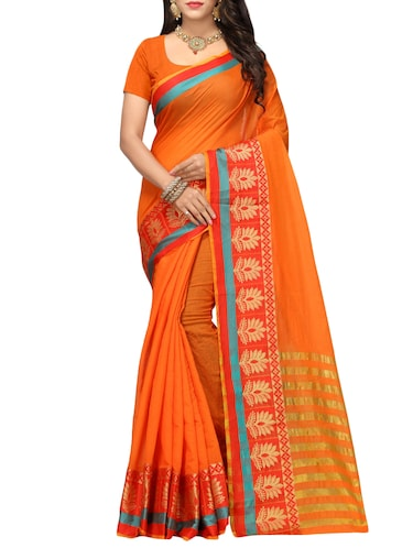 Contrast bordered kanjivaram saree with blouse - 15496466 - Standard Image - 1