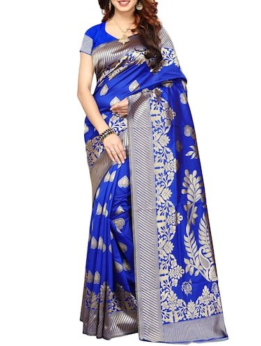 printed kanjivaram saree with blouse - 15496478 - Standard Image - 1