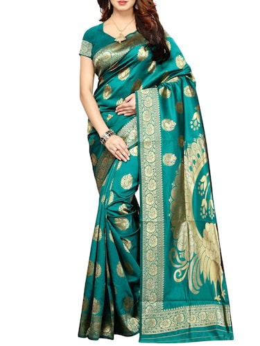 printed kanjivaram saree with blouse - 15496489 - Standard Image - 1