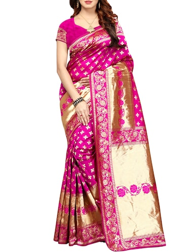printed kanjivaram saree with blouse - 15496495 - Standard Image - 1