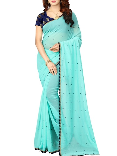 Border embroidered saree with blouse - 15496500 - Standard Image - 1
