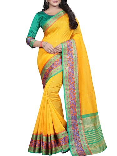 contrast zari border banarasi saree with blouse - 15496856 - Standard Image - 1