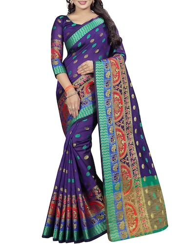 conversational zari motif banarasi saree with blouse - 15496869 - Standard Image - 1