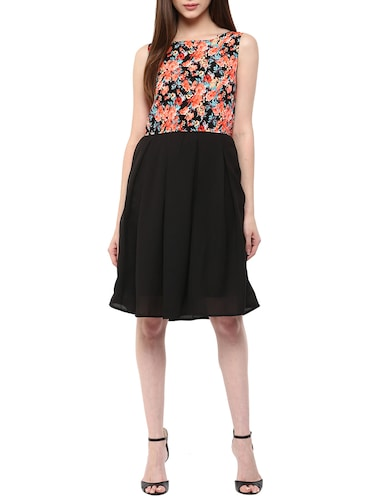 sleeveless printed a-line dress - 15497082 - Standard Image - 1