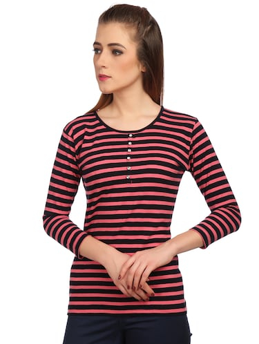 button detail striped top - 15497097 - Standard Image - 1