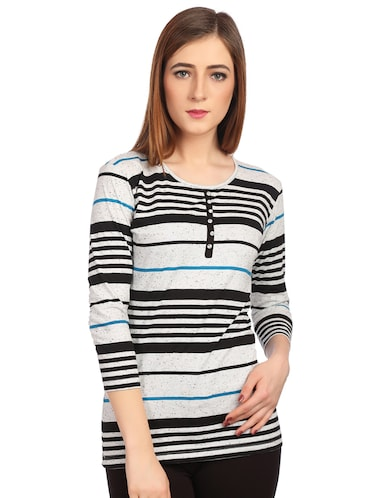 round neck button detail striped tee - 15497107 - Standard Image - 1