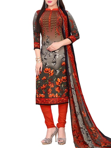 Printed unstitched churidaar suit - 15497125 - Standard Image - 1