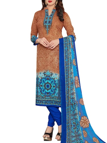 Printed unstitched churidaar suit - 15497153 - Standard Image - 1
