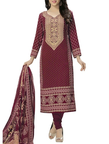 Printed unstitched churidaar suit - 15497158 - Standard Image - 1