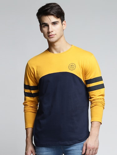 yellow cotton color block t-shirt - 15497605 - Standard Image - 1