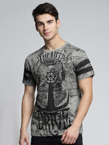 grey cotton all over print tshirt - 15497623 - Standard Image - 1