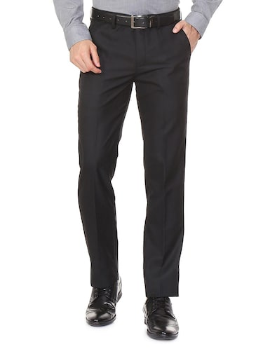black polyester blend flat front formal trouser - 15497708 - Standard Image - 1