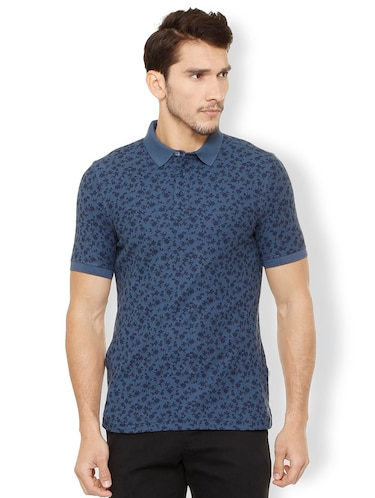 navy blue cotton polo t-shirt - 15497779 - Standard Image - 1