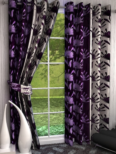 Set of 6 Polyester Long Door Curtains - 15498279 - Standard Image - 1