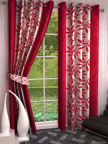 Set of 8 Polyester Long Door Curtains - 15498437 - Standard Image - 1