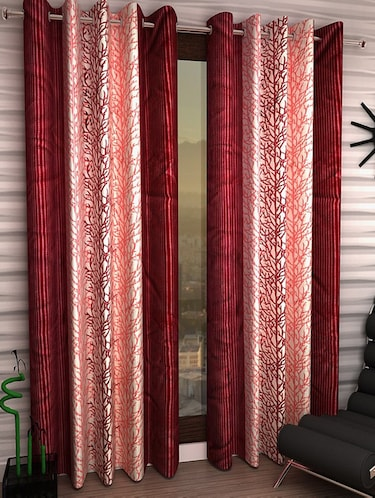 Set of 8 Polyester Long Door Curtains - 15498447 - Standard Image - 1