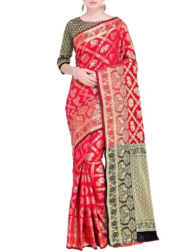 Zari Conversational Kanjivaram saree with blouse - 15498603 - Standard Image - 1