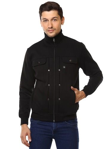 black cotton casual jacket - 15498697 - Standard Image - 1
