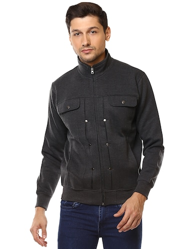 grey cotton casual jacket - 15498698 - Standard Image - 1